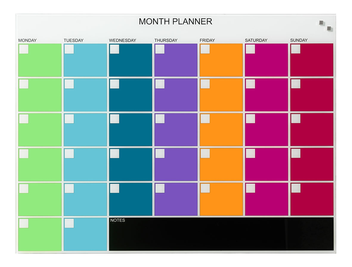 Bright Coloured GlassBoard Planners