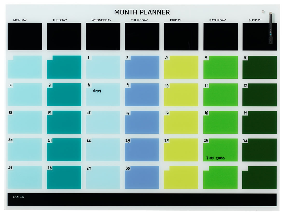 Coloured Magnetic Month Planner