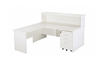 White Vibe Reception Desk and Return