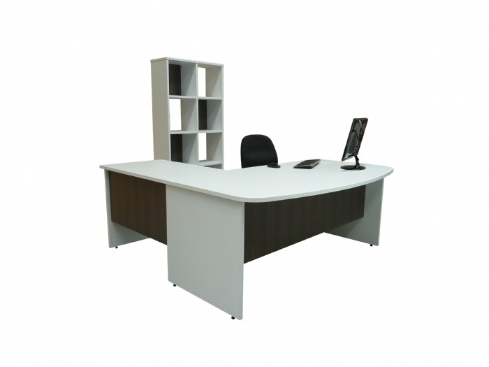Bow Front Desk and Cube Bookcase