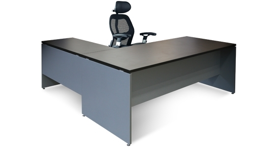 Silhouette Straight Sleek Desk and Return