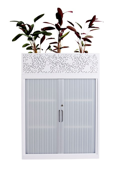Davell Tambour Door Cabinet With Planter Box
